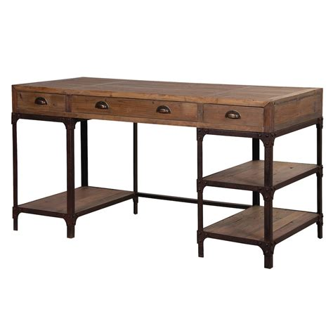 metal and wood desk with drawers blaine industrial pine desk with shelves