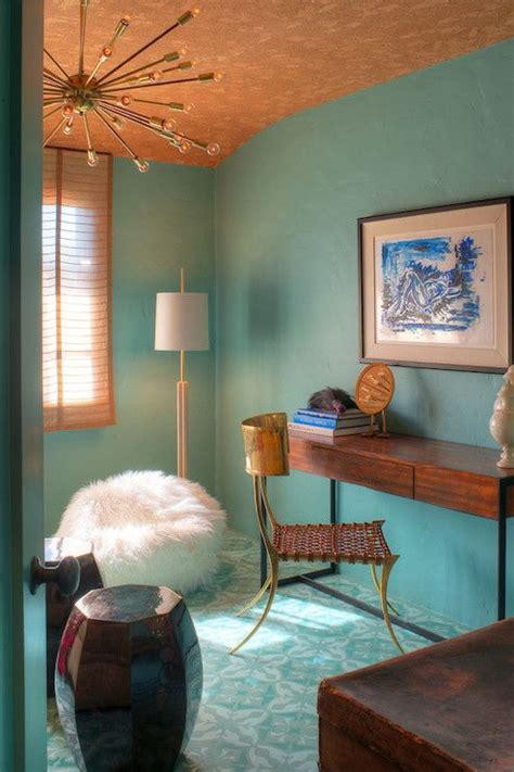 gorgeous wall color with gold ceiling sputnik light and
