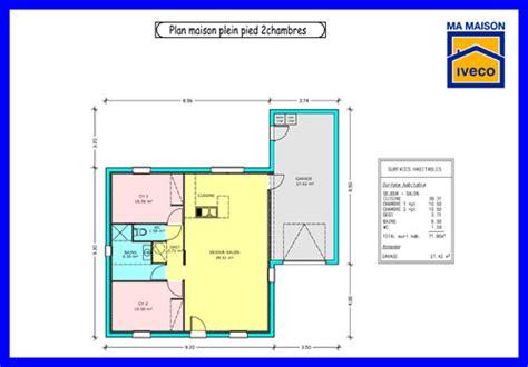 plan de maison plain pied 2 chambres et garage constructeurvendee plans de maisons