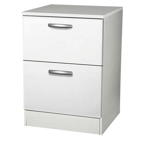 bloc tiroir cuisine meuble de cuisine bas 2 tiroirs casseroliers blanc h86x
