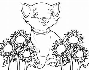 Kostenlose Malvorlage Katzen Katze Und Sonnenblumen Zum