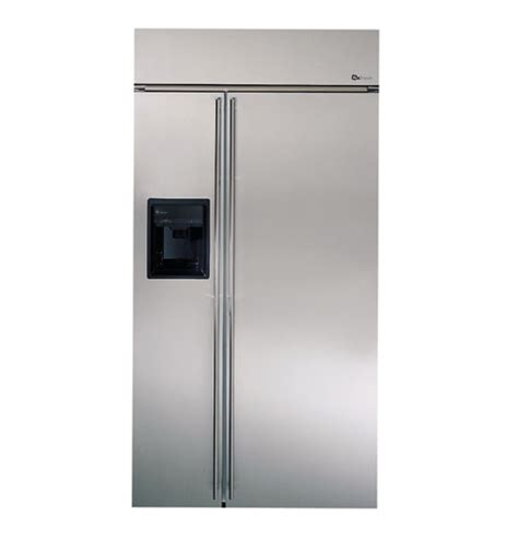 ge monogram  built  stainless steel side  side refrigerator  black dispenser