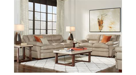 188800 Aventino Tan Leather 2 Pc Living Room