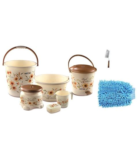 Browning Bathroom Decor Set by Nayasa Brown Bathroom Accessories Set Buy Nayasa Brown