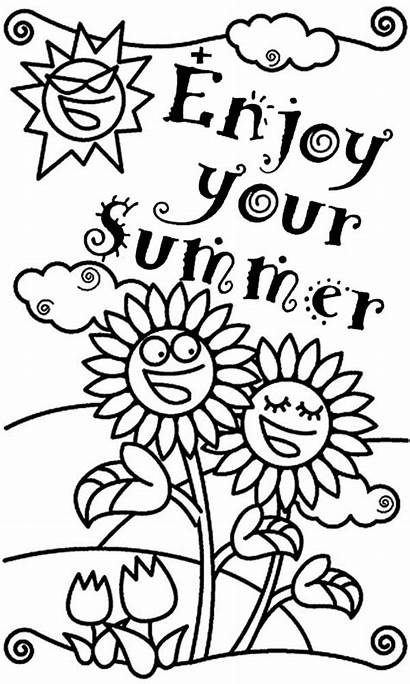 Coloring Pages End Enjoy Summertime Holiday Kindergarten