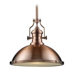pendant light in antique copper finish 17 inches wide