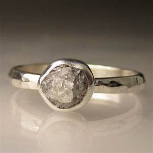 rough diamond engagement ring palladium sterling silver With rough diamond wedding ring