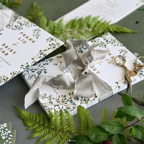 Vine Wedding Invitation Green and Gold Wedding Invite