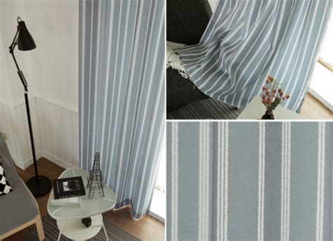 vertical striped polyester  linen blue  gray curtains