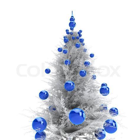 light grey christmas tree with blue balls stock photo colourbox
