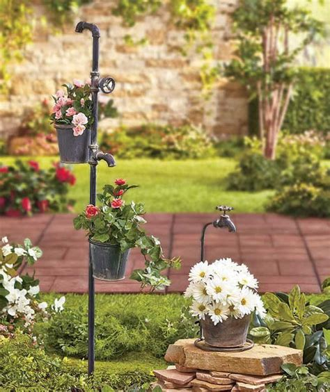 Garden Planter Rustic Country Primitive Faucet Tap Bucket