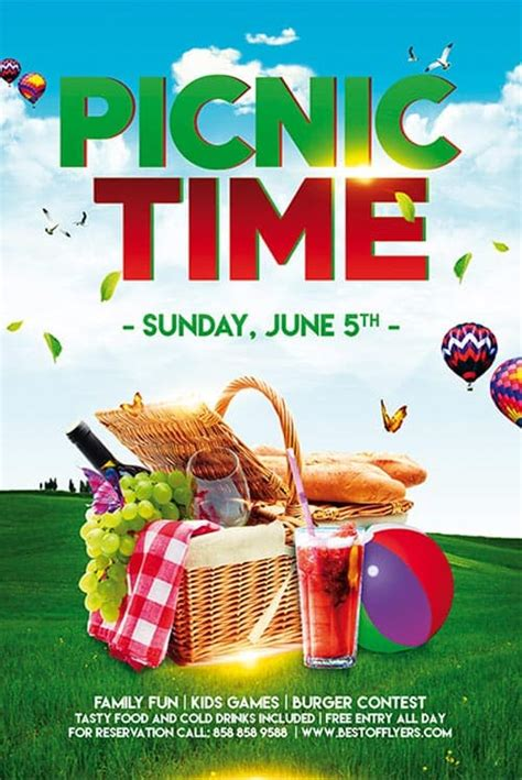 picnic time  poster template  community picnic