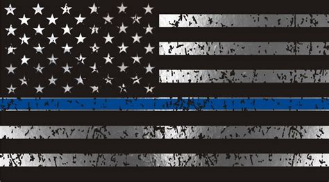 Thin Blue Line Flag Distressed Metallic Reflective Decal