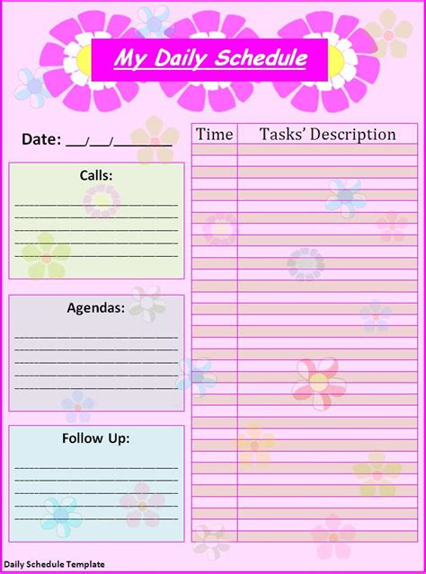daily schedule templates fine word templates