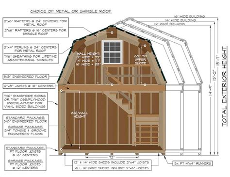 12x24 gambrel shed plans construction specifications on a 2 story gambrel barn from