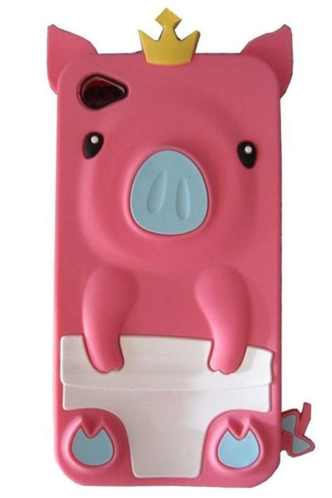 3D Pig Cartoon Animal Silicone Case Cover for iPhone 4S