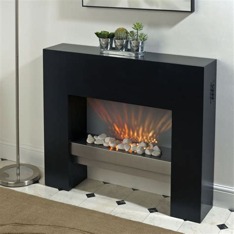 black free standing electric mdf surround fireplace