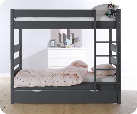 lit superposé avec lit superposé gris anthracite 90x190 cm avec sommier