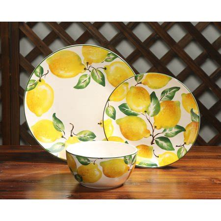 mainstays lemon print  piece dinnerware set walmartcom