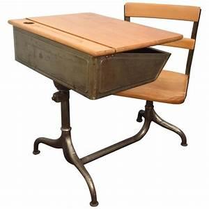 Old Metal School Desk