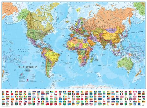 political wall map   world finely detailed laminated