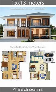 House, Plans, Idea, 15x13, With, 4, Bedrooms