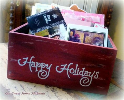 personalized christmas card holder storage crate for mail