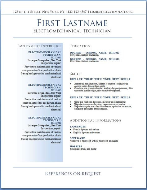 free template for resumes to download free resume cv template download