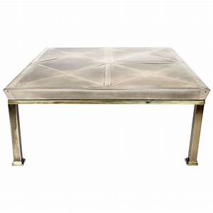 mid century modern brushed brass coffee table gabriella With brushed brass coffee table