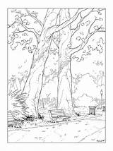 Coloring Bench Park Drawing Pages Drawings Deviantart Encrage Adult Pencil P01 Cartoon Landscape Coloriage Draw Sketches Tree Character Realistic Dessin sketch template