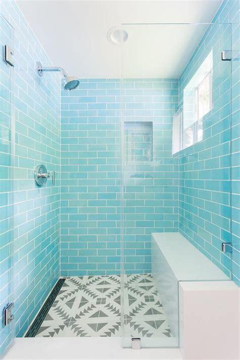 blue mosaic shower niche tiles transitional kitchen