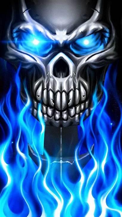 Skull Fire Flame Cool Wallpapers Metallic Metal