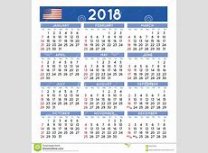 2018 Geregelde Kalender De Engelse VS Vector Illustratie