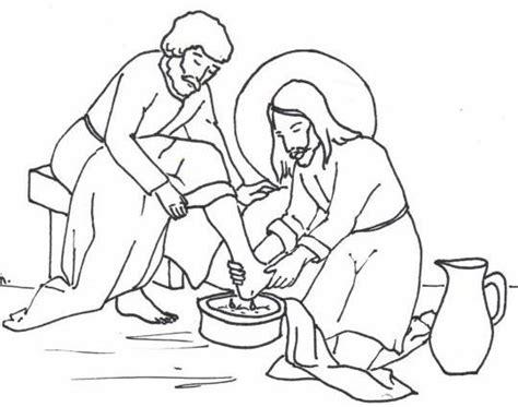 Jesus Washing Disciples Feet Coloring Page Free