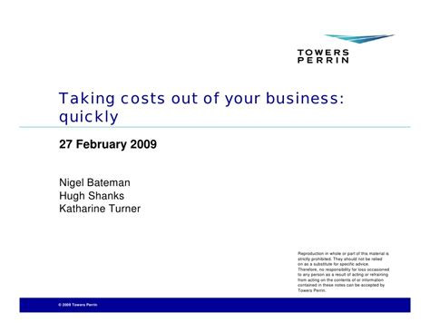 Taking Costs Out Of Your Business Quickly