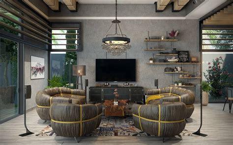 rustic industrial living room ideas  inspire