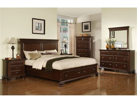 Bedroom Sets by Elements International Bedroom Canton Cherry Storage Bed