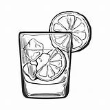 Gin Glass Vodka Ice Vector Water Soda Lime Illustration Drawing Clipart Alcohol Clip Rocks Sketch Shot Background Transparent Drink Cheers sketch template