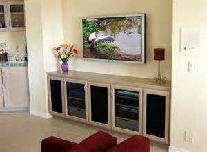 home interiors gifts inc crafted custom built in tv credenza stand with wall mounted flat panel hdtv by