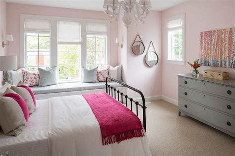 Black Metal Bed With Pink And Gray Bedding-transitional