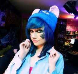 Cute Emo Girl with Short Blue Hair