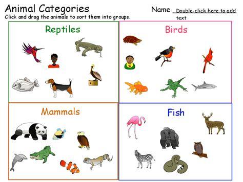 Animal Categories   Animal Classification Template