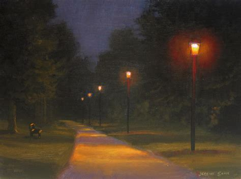 who to call when street light is out creekside park nocturne painting jeremy sams art