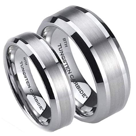his and hers matching tungsten wedding ring sets