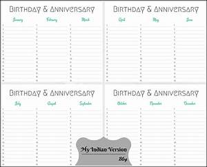 my indian version birthday anniversary calendar free With birthday and anniversary calendar template