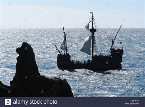 portugal island madeira sail ship reproduction quot santa quot lake stock 23132614 alamy
