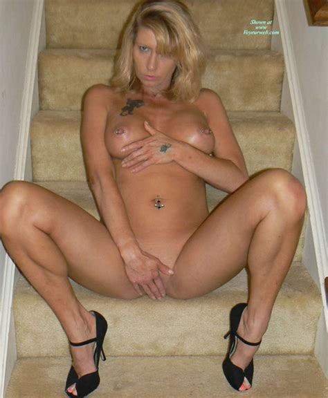 Nude In High Heels Sitting On Stairs March