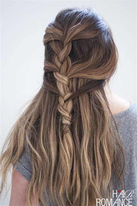 loose french braid tutorial  long hair hair romance