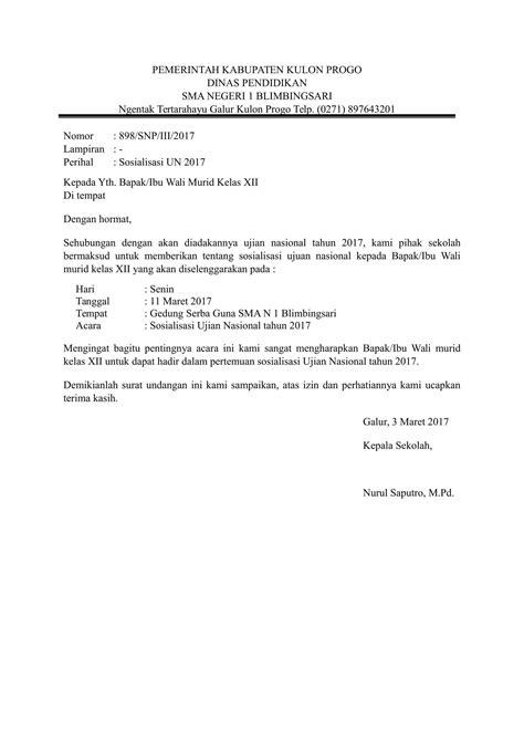 contoh surat resmi sekolah terbaru