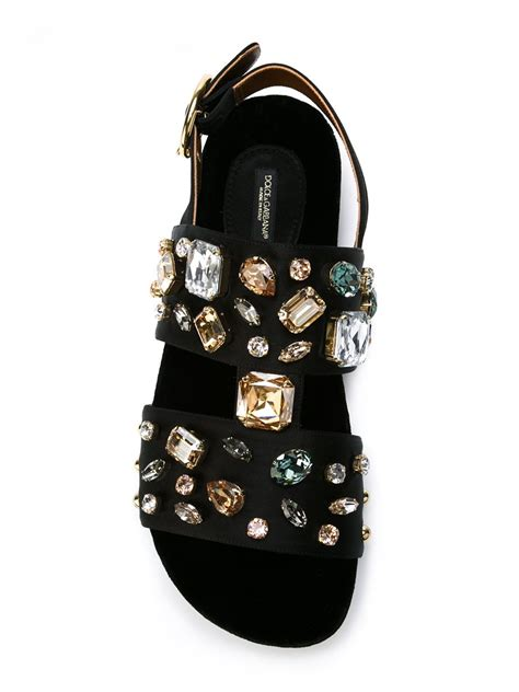 lyst dolce gabbana crystal embellished sandals  black